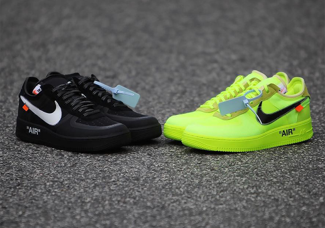 off white nike air force 1 low black volt release date 1